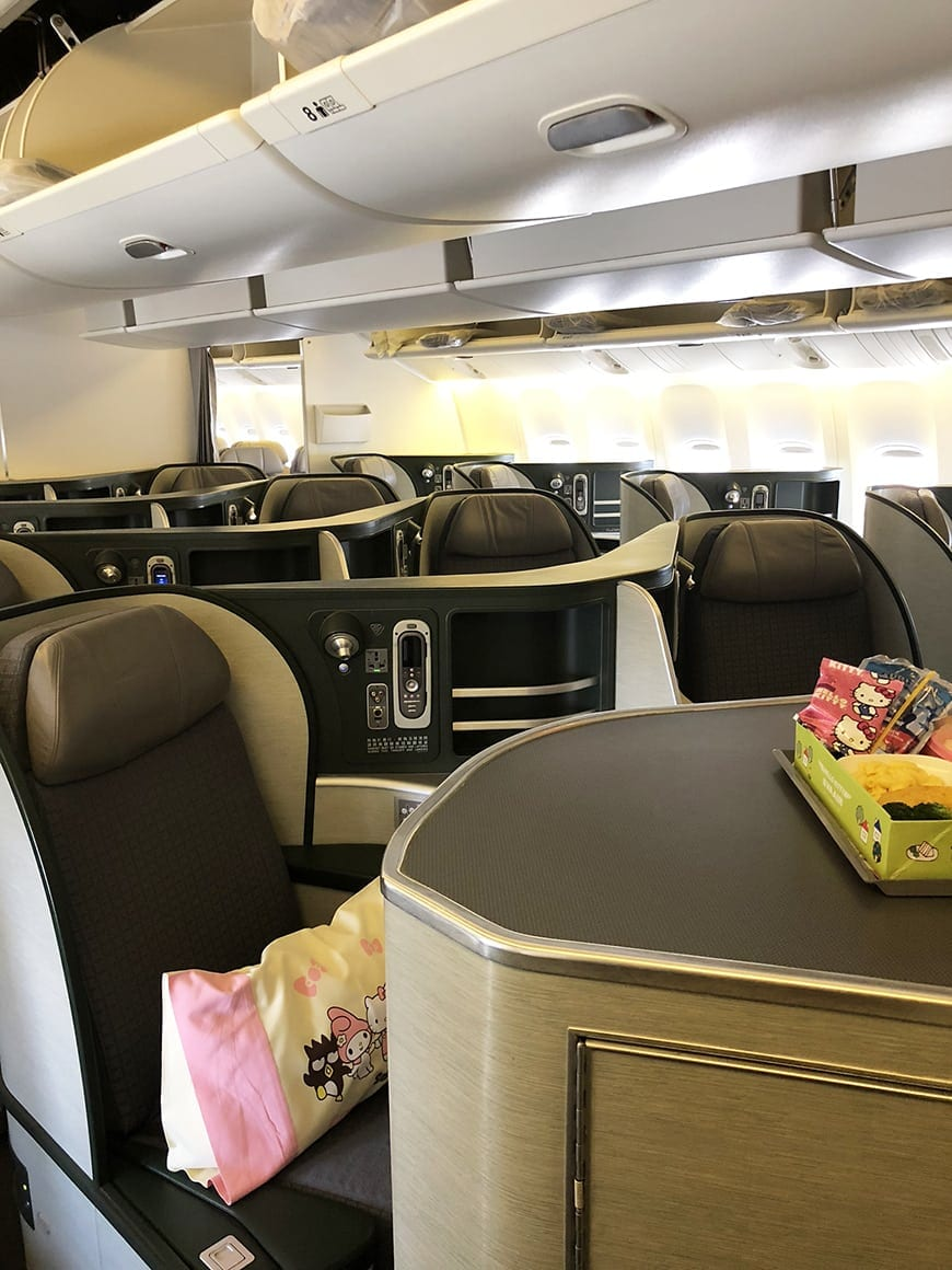 eva air hello kitty flight business class cabin