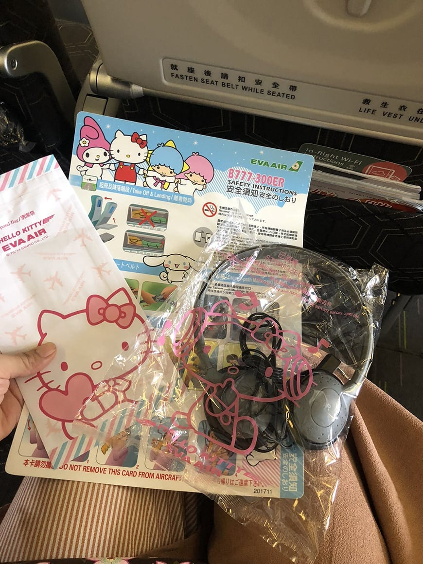 eva air hello kitty flight swag