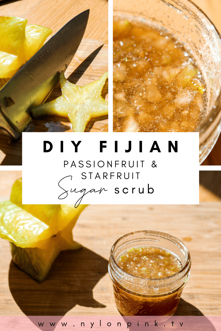 If you're feeling like an island getaway but want to stay in the comfort of your own home, this passionfruit and star fruit sugar scrub is the perfect way to do it! It's a simple DIY scrub that you can fix up really quick for a little extra self-care. It's perfect for a lazy Sunday afternoon or just to start off your day with a burst of tropical delight. #bodyscrub #selfcare #DIY #DIYbeauty #beauty